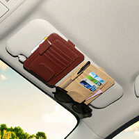 汽车眼镜夹架盒车载CD夹包车用纸巾盒套遮阳板票据名片卡片夹收纳 遮阳板收纳夹(黑色)