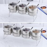 调味罐套装不锈钢调料盒透明盖调味盒厨房家用调味料瓶放盐组合品