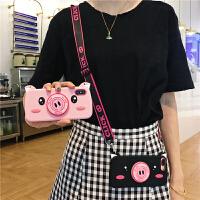 可爱卡通小猪苹果x手机壳iphone7plus硅胶套6s斜挎背挂脖绳女款8P iPhoneX 猪支架 粉色+挂绳