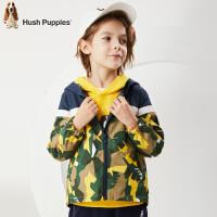 【2件5折:149】暇步士童装秋季新款男童风衣外套时尚帅气拼接迷彩连帽薄风衣外套儿童风衣外套