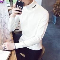 2018春秋暖男高领个性字母刺绣男士高领薄毛衣韩版修身针织衫线衫