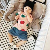 沃康婴儿T恤纯棉夏季新生苹果匹印印花打底衫婴幼儿短袖 宝宝衣服