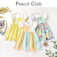 【3件2折:53.8】铅笔俱乐部童装2020夏装新款女童短袖连衣裙儿童假两件碎花裙子