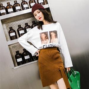 七格格白色印花t恤女秋装2018新款棉学生韩版宽松百搭长袖上衣夏