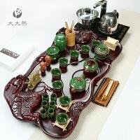 整套紫砂陶瓷冰裂喝茶功夫茶具茶杯套装四合一茶盘茶台家用简约