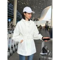 爆版女装 新款连帽开衫绑带收腰中长款薄料防晒女式小风衣外套 白色 均码