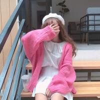 秋冬女装韩版学生中长款原宿风长袖毛衣外套宽松粗毛线开衫针织衫 粉红色 均码