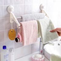 吸盘式双杆毛巾架毛巾杆挂钩 浴室卫生间免打孔挂毛巾架毛巾挂架