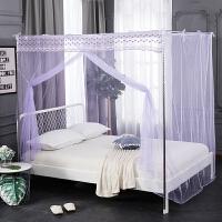 蕾丝门帘加密单开门蚊帐1.8m双人床家用穿杆1.35米不锈钢落地支架