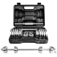 一体杆防滑哑铃连接杆电镀哑铃男士健身器材家用哑铃练臂肌体育用品