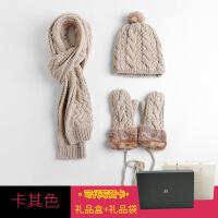 围巾手套女 礼盒装帽子围巾手套三件套一体女冬季保暖套装挂围脖生日礼