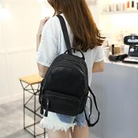 双肩包女士韩版潮软皮时尚休闲女包旅行背包 黑色