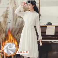 №【2019新款】冬天美女穿的法式复古白色蕾丝连衣裙女秋学生长袖内搭打底裙子仙