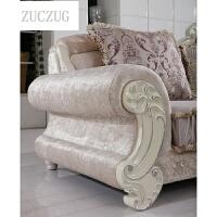 ZUCZUG欧式沙发布艺组合 大小户型客厅实木雕花L型可拆洗简欧沙发 L型组合沙发 组合