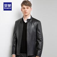 罗蒙男士真皮皮衣中青年春季新款立领绵羊皮外套时尚修身短款夹克