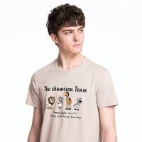 camel 骆驼男装 夏季新款男青年休闲印花上衣 圆领弹力棉短袖T恤 潮