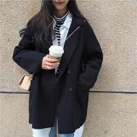复古百搭纯色西装领开衫毛呢外套女冬装新款韩版宽松中长款大衣