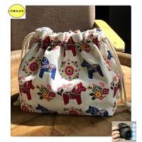 日系手工棉麻可爱抽绳饭盒便当午餐带饭收纳包袋