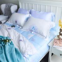 实拍春夏60支印花双面天丝四件套床单被套田园风超柔床上用品 白色 -色