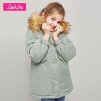 【3折券后�A估�r:151】笛莎童�b女童上衣冬季新款中大童�和�小女孩洋�膺B帽棉服外套