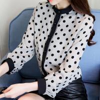 衬衫女长袖2018秋装新款韩版宽松波点雪纺上衣女装时尚百搭衬衣服