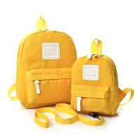 女童少儿幼儿园子装迷你小学生双肩背包女韩版潮帆布妈咪包 黄色 小号