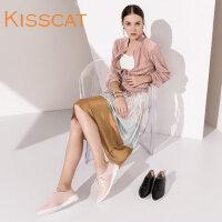 接吻猫舒适羊皮尖头系带鞋低跟深口单鞋女DA76786-52
