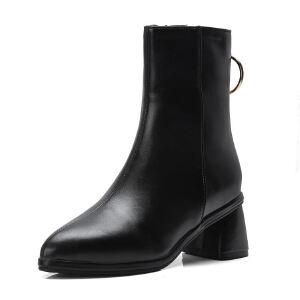 WARORWAR法国新品YG08-76-4冬季欧美酒杯跟中跟女士靴子切尔西靴短靴