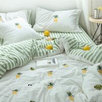 简约全棉水洗棉四件套 卡通菠萝刺绣小清新纯棉被套床单床上用品