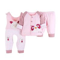 婴儿春装宝宝薄棉衣套装0-1岁春秋季6-个月男女婴背带裤三件套2487