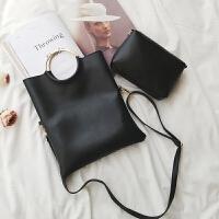 子母包2018新款韩版个性圆环信封女包折叠手拿包单肩斜挎手提小包