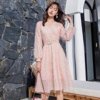 很仙的雪纺连衣裙春季女2019新款长袖气质长裙大码修身显瘦打底裙