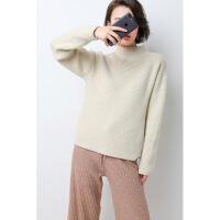 新年优惠【NEW】韩版女加厚羊毛半高领毛衣套头短款宽松抽条打底衫纯色针织