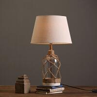 美式复古玻璃底座台灯 样板房软装饰品摆件 书房客厅卧室创意台灯 古典欧式奢华做旧台