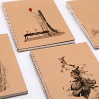 加大号A3素描本复古牛皮封面速写本A4美术绘画大本子图画本线圈空白笔记本