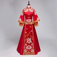 绣禾喜服秀合新娘装敬酒唐装中式结婚旗袍礼服嫁衣女秋季修身古装 红色