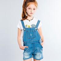 【3折价:118.53元】暇步士女童夏装新款3分裤大童梭织牛仔裤儿童时尚背带裤
