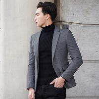 冬季羊毛呢西装男修身韩版青年男士休闲小西服妮子加厚短款外套潮