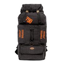 大容量帆布包双肩包80L登山包男女潮包徒步旅行背包 黑色