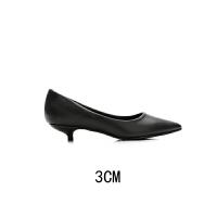 工作鞋女黑色正装尖头高跟鞋细跟粗跟中跟职业面试皮鞋女单鞋 黑色 细跟 3CM