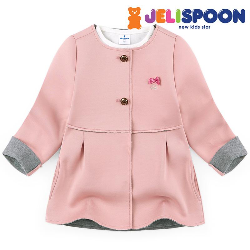 韩国童装jelispoon2017秋季新款 女童外套 可爱粉红外套
