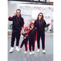 亲子装冬装2018新款潮全家装创意网红母女装母子装三口卫衣套装秋 黑色套装