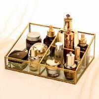 玻璃复古玻璃化妆品护肤桌面收纳欧式桌面整理置物架大号非亚克力 复古1064