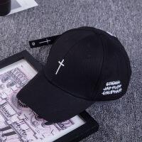 新款韩版刺绣十字架棒球帽 男女士户外帽子弯檐刺绣遮阳鸭舌帽 可调节