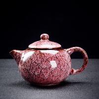 窑变天目釉茶壶建盏小单壶陶瓷家用功夫茶具大号大容量日式泡茶壶 紫白 1#