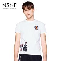 NSNF徽章修身白色短袖t恤男款 2017男装夏季新品 修身圆领针织短袖