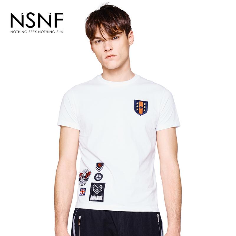 NSNF徽章修身白色短袖t恤男款  2017男装夏季新品  修身圆领针织短袖 当当自营 高品质设计师潮牌