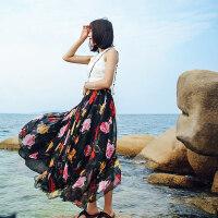 印花雪纺长裙半身裙夏大码大摆裙高腰仙女裙荷叶边海边渡假沙滩裙 红颜 95CM