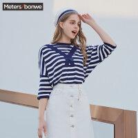 美特斯邦威毛衣女宽松海军风日系条纹毛衫甜美打底衫春新款