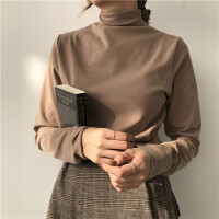 纯色百搭高领加绒打底衫长袖T恤女春装新款韩版简约修身显瘦上衣